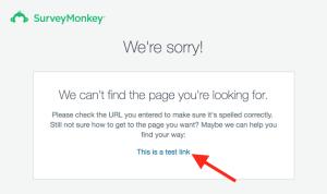 صفحه 404 surveymonkey با لینک صفحه ایندکس نشده
